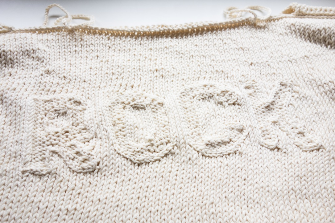 knitted spring sweater word detail