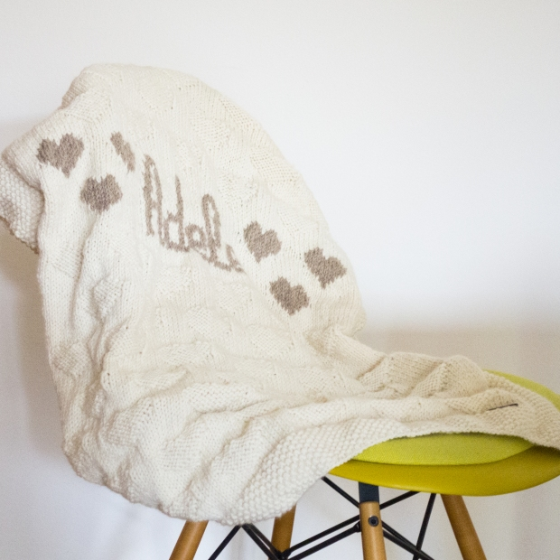 baby blanket knitted heart chair